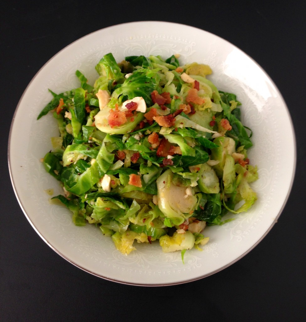 Brussels Sprouts with Bacon and Hazelnuts via KitchenNomad.com